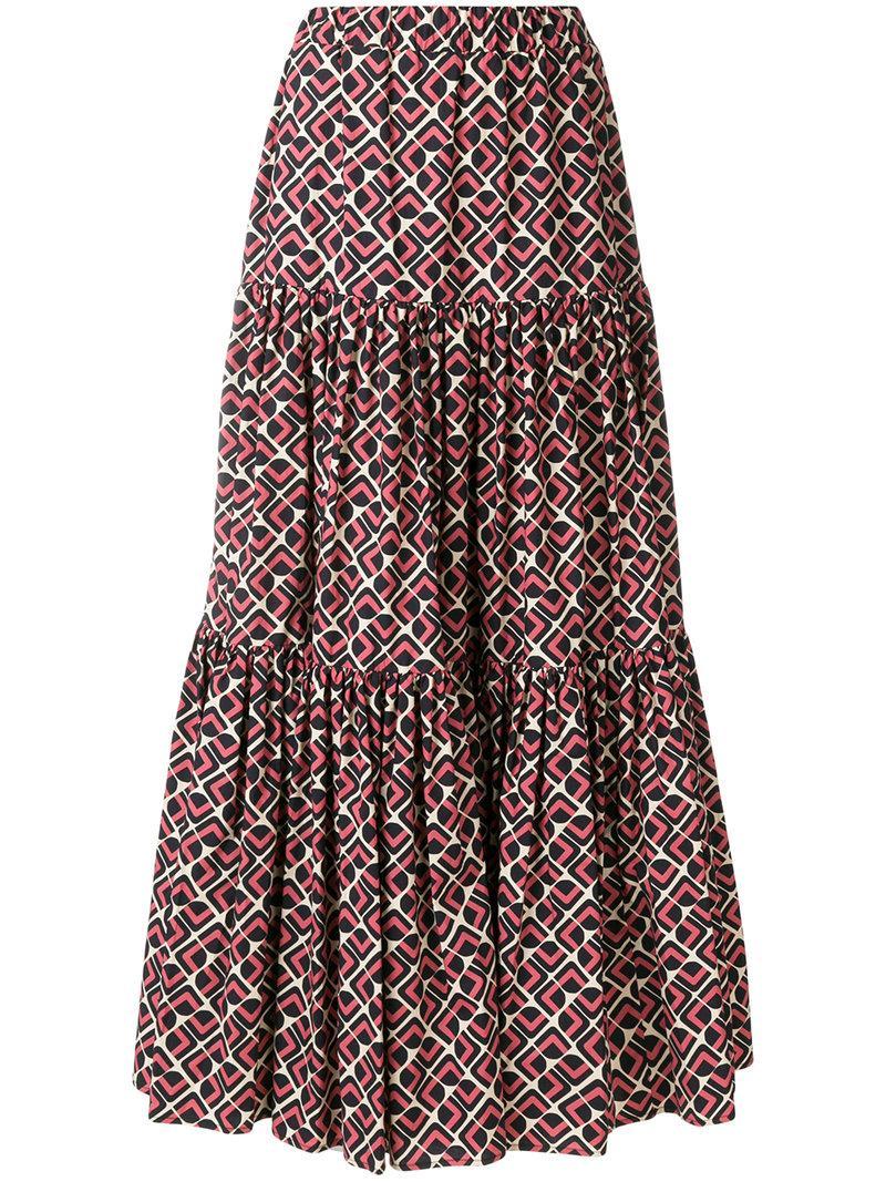 La Doublej Tiered Peasant Skirt In Black