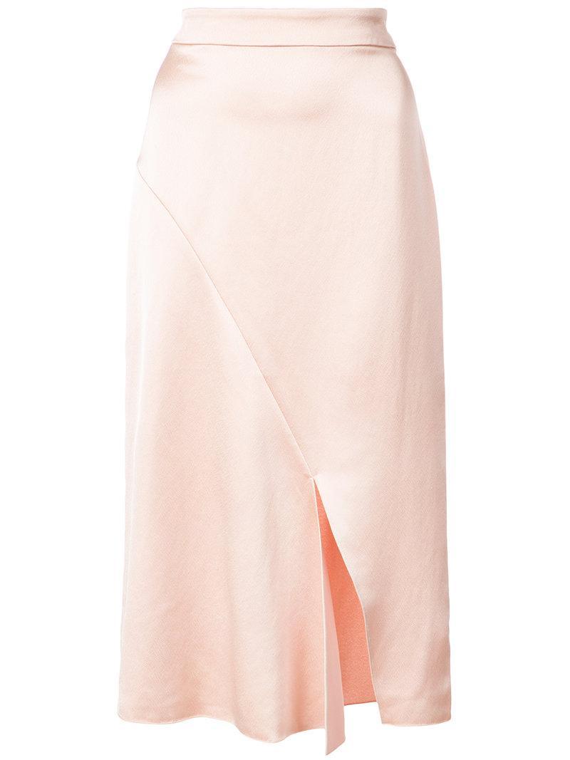 Tibi Celestia Satin Draped Pencil Skirt In Pink & Purple