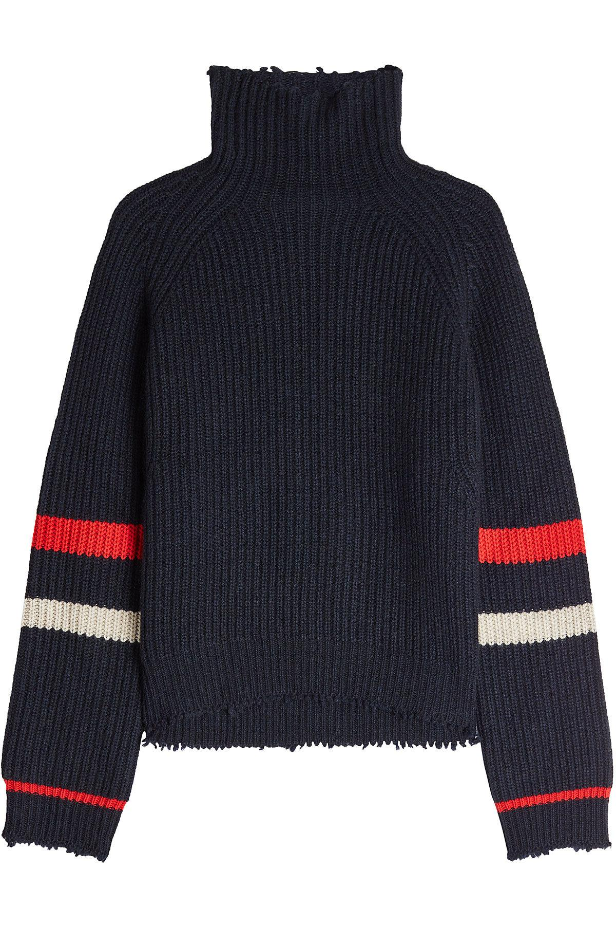 Zadig & Voltaire Distressed Turtleneck Pullover In Wool And Yak In Blue