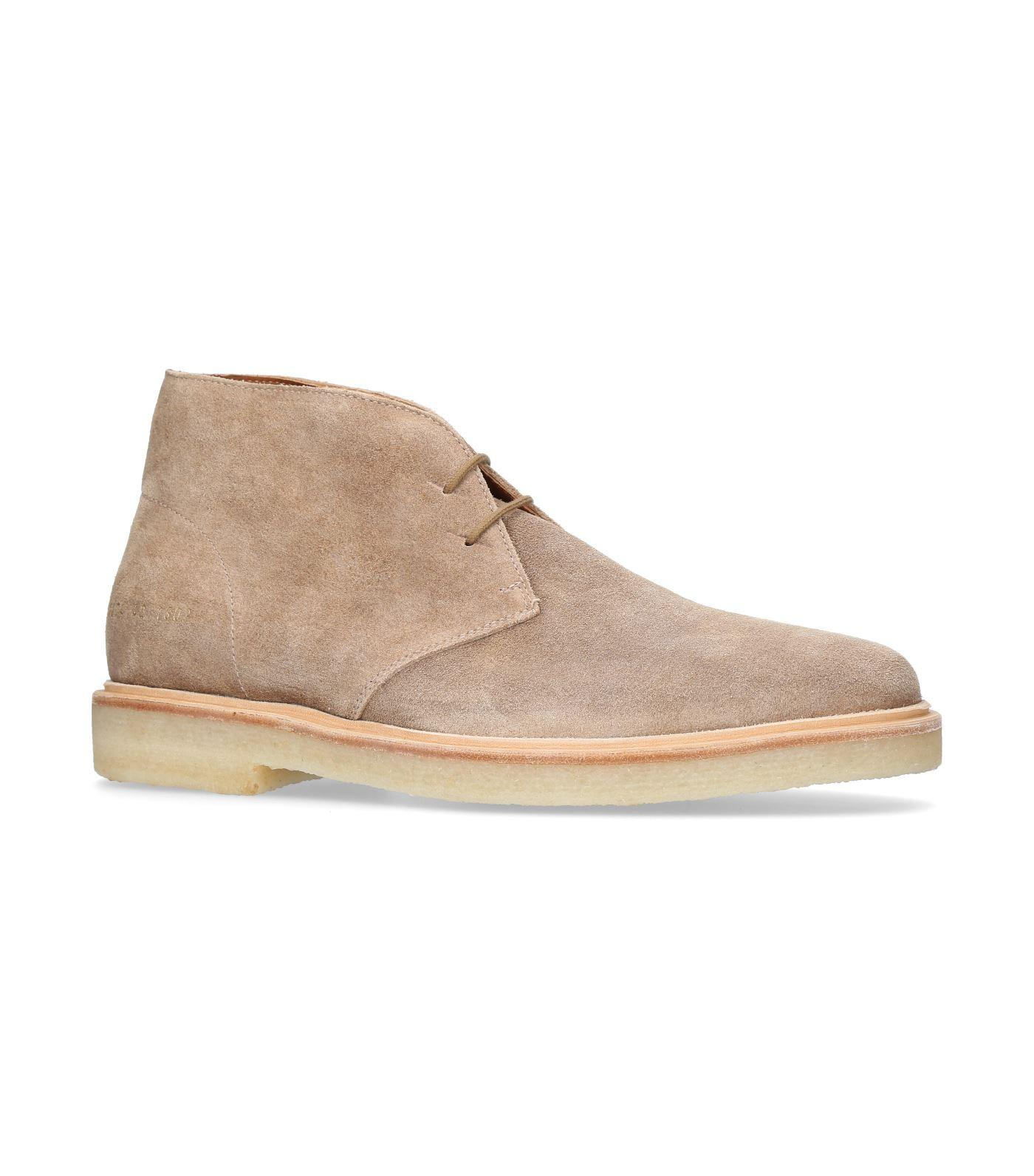 Common Projects Chukka Suede Boots In Beige