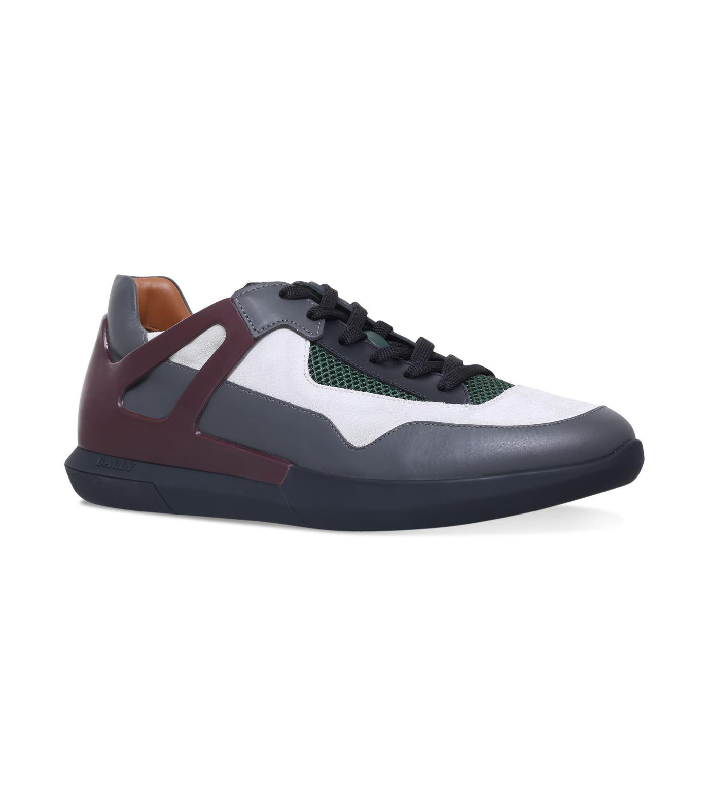 Bally Avion Leather Sneakers In Grey