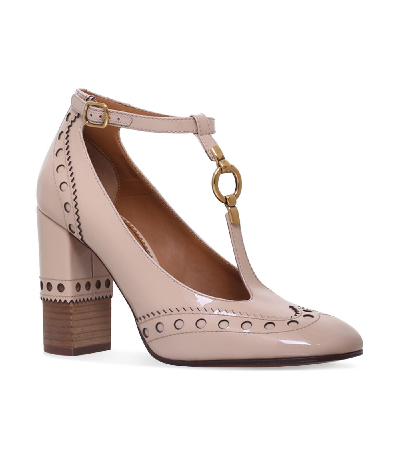 ChloÉ Perry T-bar Pumps 95 In Beige