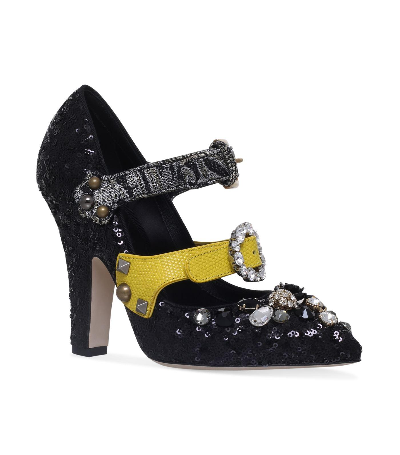 Dolce & Gabbana Sequin Mary Jane Pumps 105 In Multi