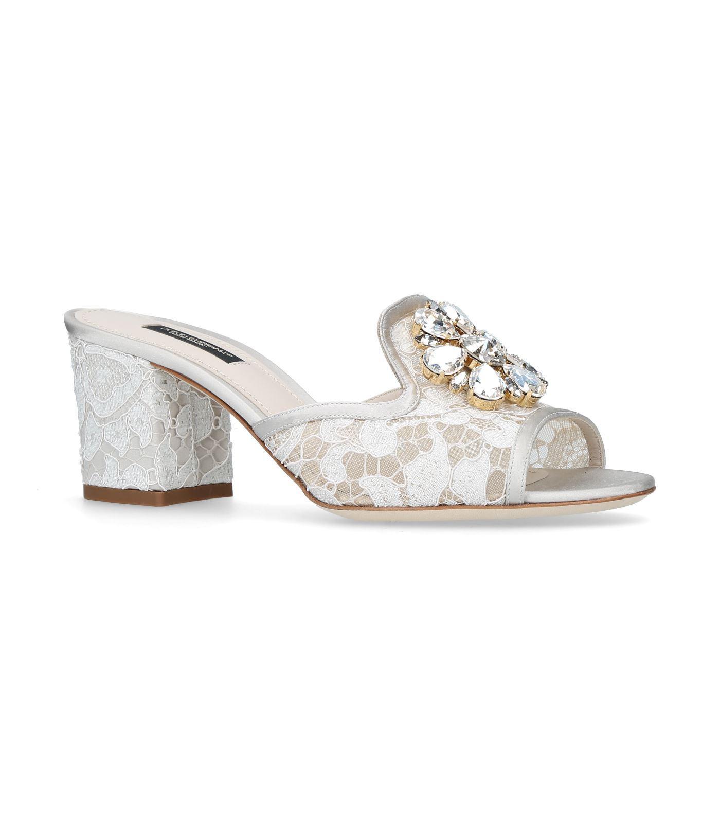 Dolce & Gabbana Bianca Abaya Slides 60 In White