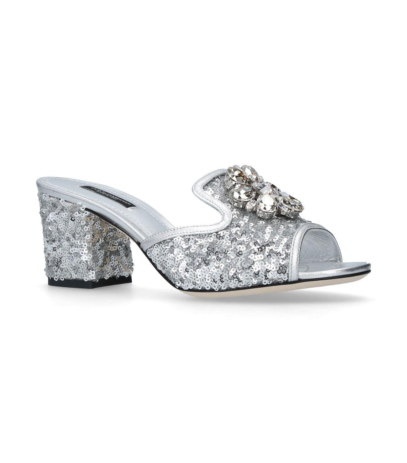 Dolce & Gabbana Bianca Abaya Slides 60 In Silver