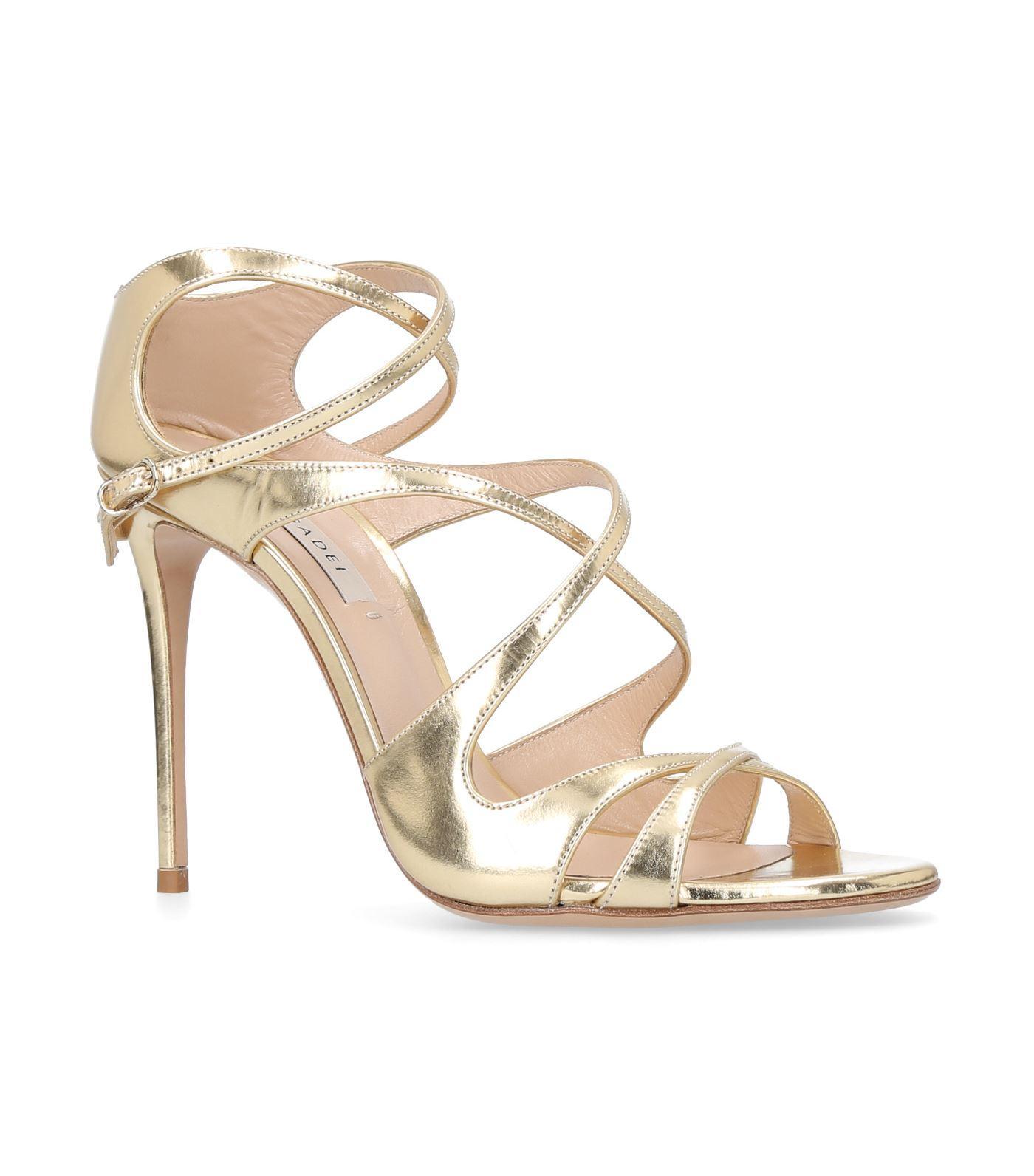 Casadei Strappy Metallic Sandals In Gold