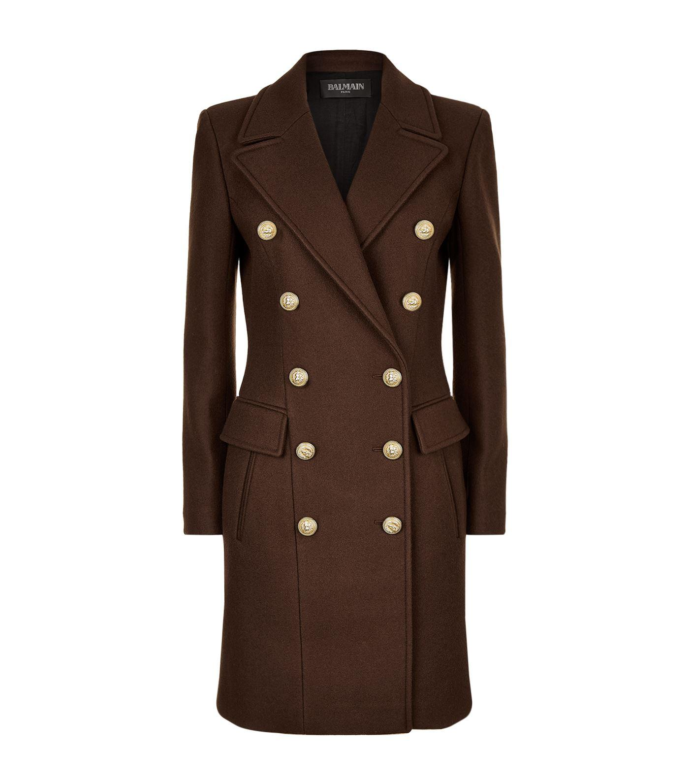 Balmain Double-breasted Coat, Brown, Fr 36