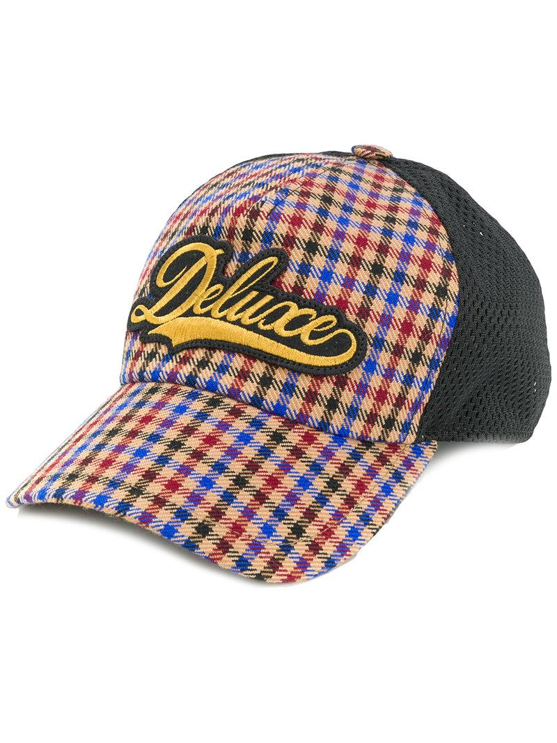Golden Goose Deluxe Brand Checked Hat In Marrone