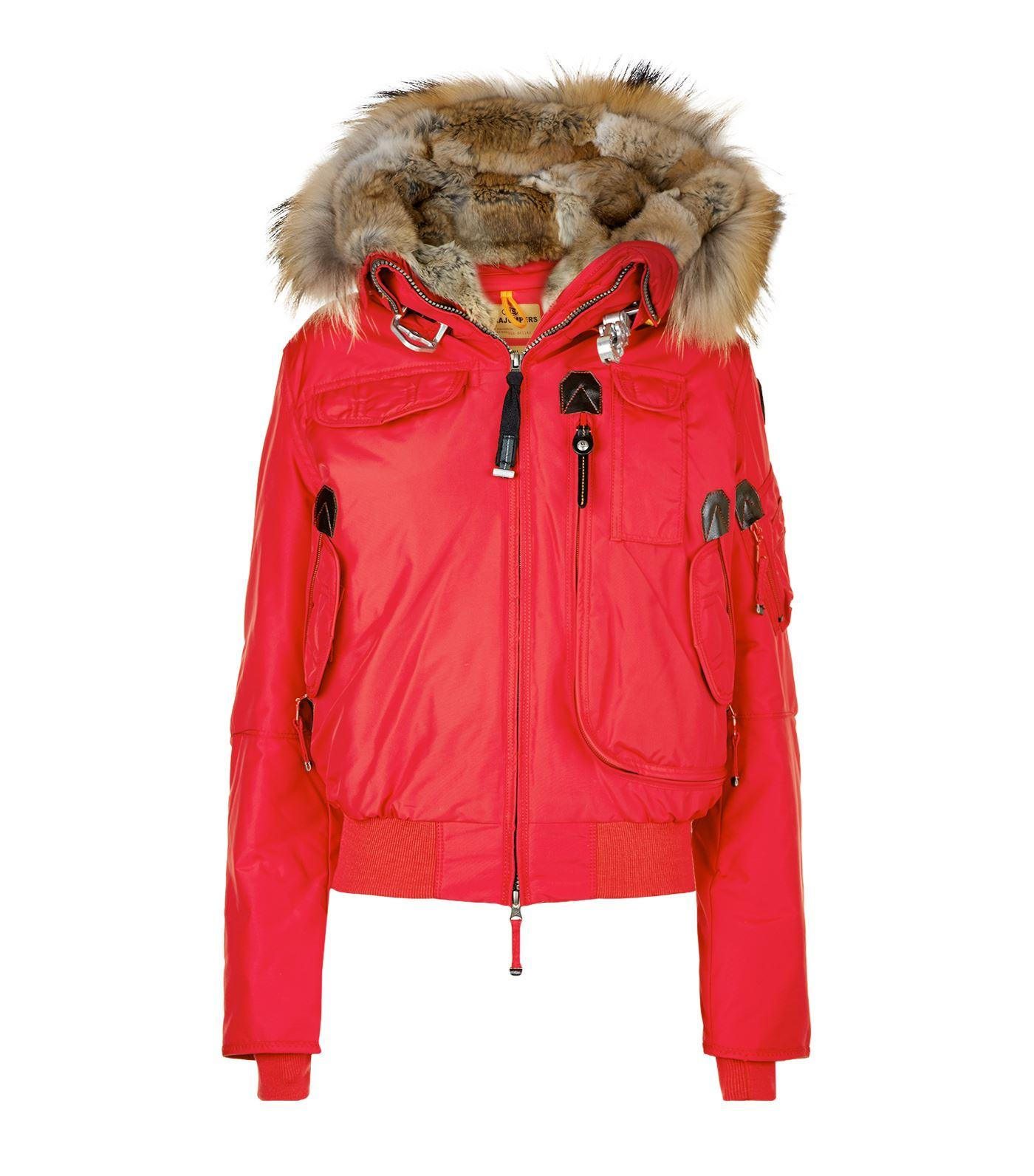 Parajumpers Gobi Rabbit Lined Jacket In Red