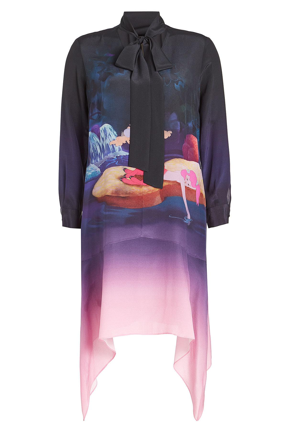 Mary Katrantzou Printed Silk Dress With Handkerchief Hem In Multicolored
