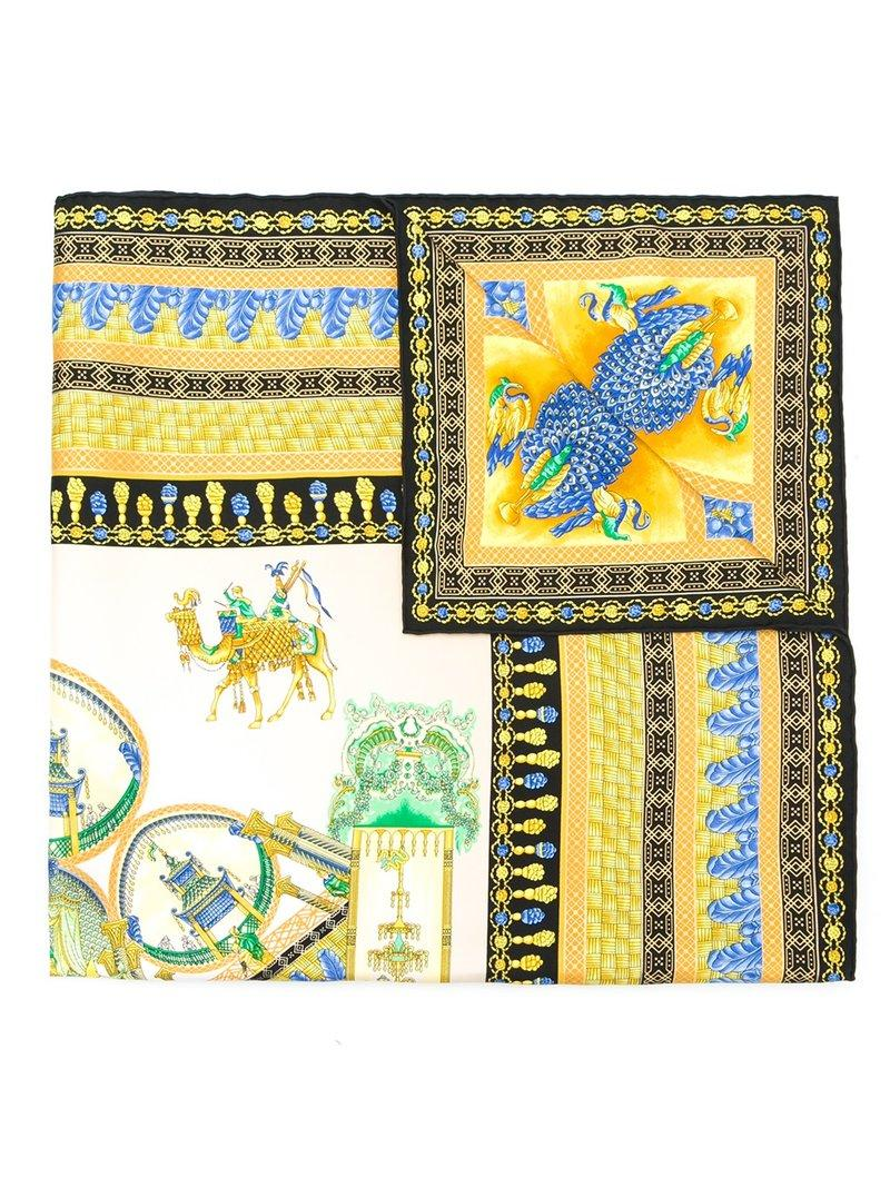 Versace Marco Polo Print Scarf - Yellow