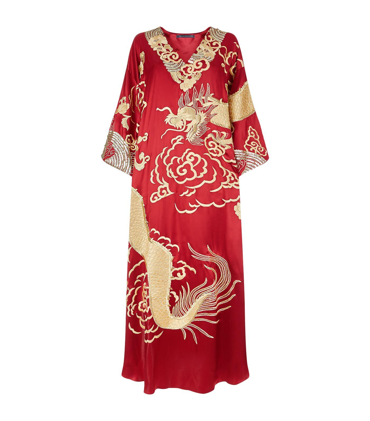 Natori Dragon Embroidered Kaftan In Multi