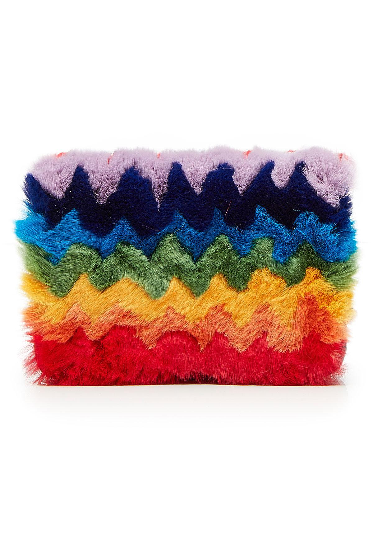 Les Petits Joueurs Fur Clutch With Leather In Multicolored