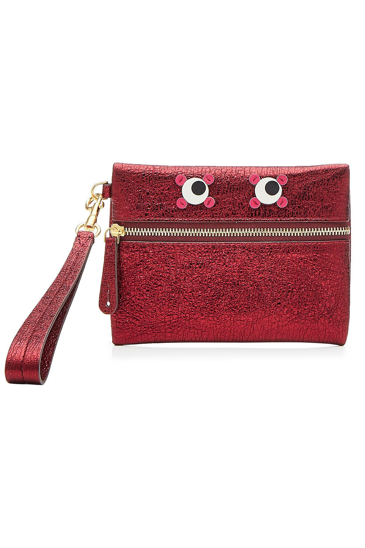 Anya Hindmarch Circulus Eyes Small Metallic Leather Pouch In Red