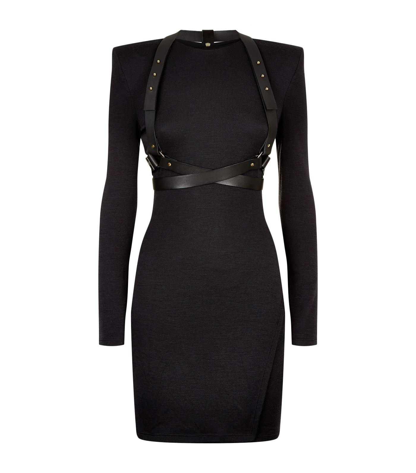 Balmain Leather Harness Mini Dress In Black