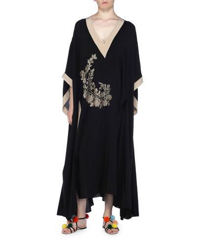 Fendi Long Floral-embroidered Caftan Dress In Black