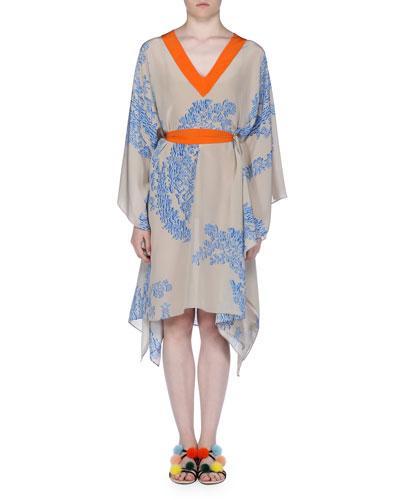 Fendi V-neck Tie-waist Caftan Dress In Multi