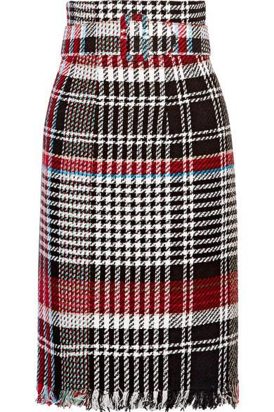 Oscar De La Renta Belted Fringed Checked Cotton-blend Tweed Skirt In Black