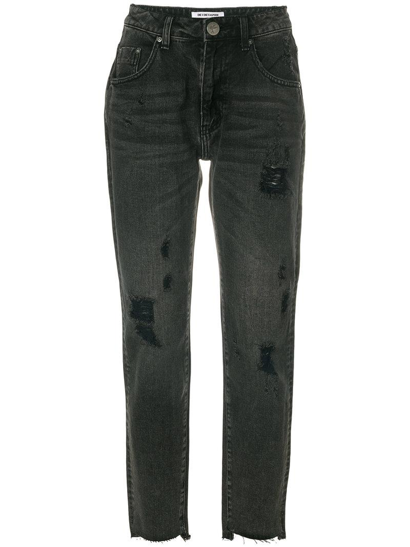 One Teaspoon Distressed Cropped Jeans