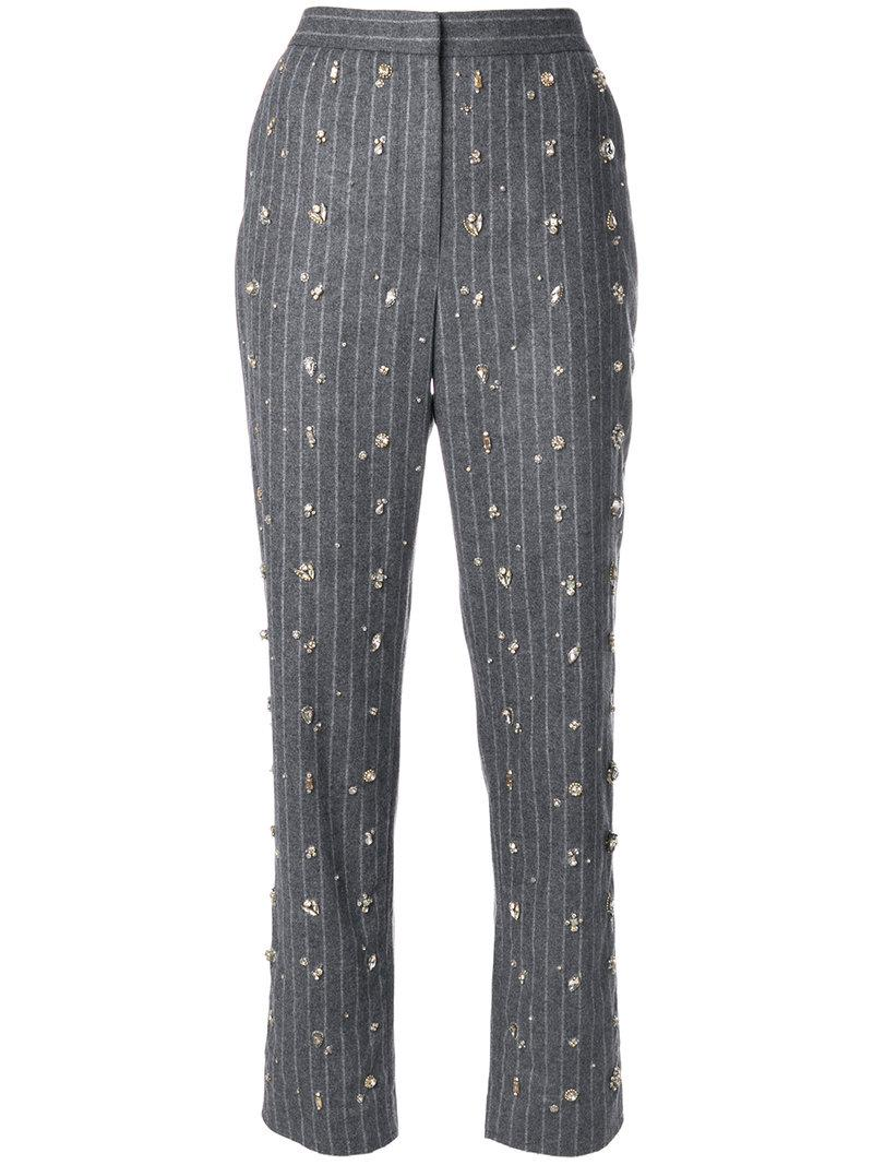 Msgm Embellished Pinstripe Suit Trousers - Grey