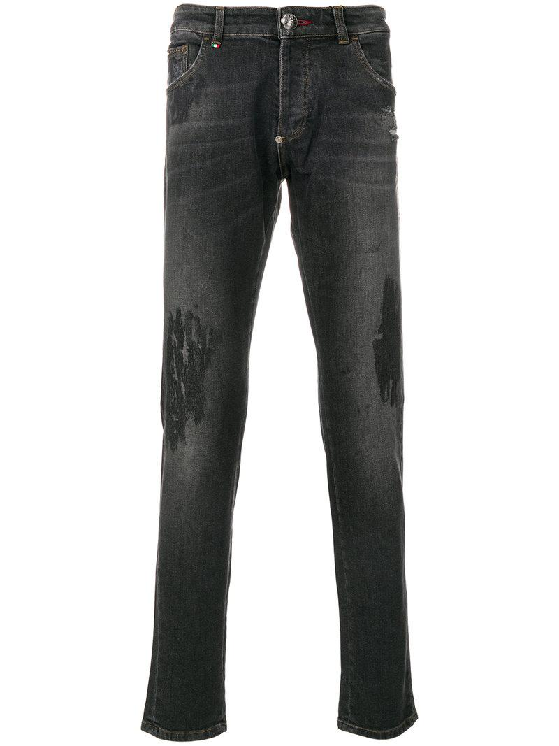 Philipp Plein Wait Straight-leg Jeans In Grey