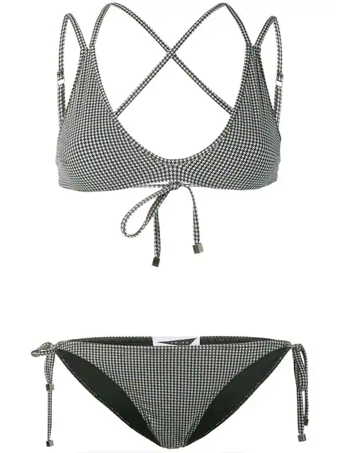 Prism Patmos Micro Houndstooth Bikini Set In Black