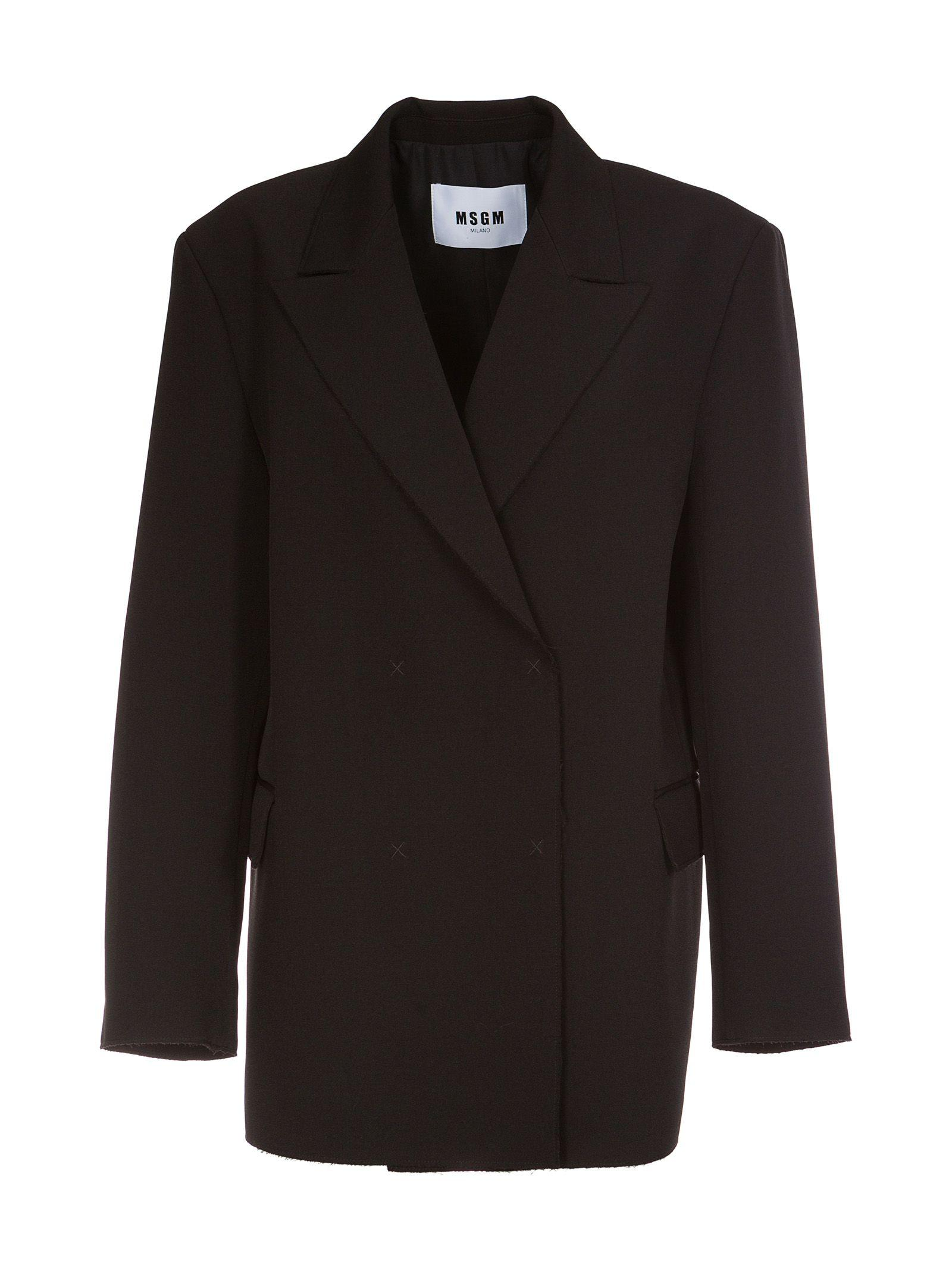 Msgm Double Breasted Blazer In Black