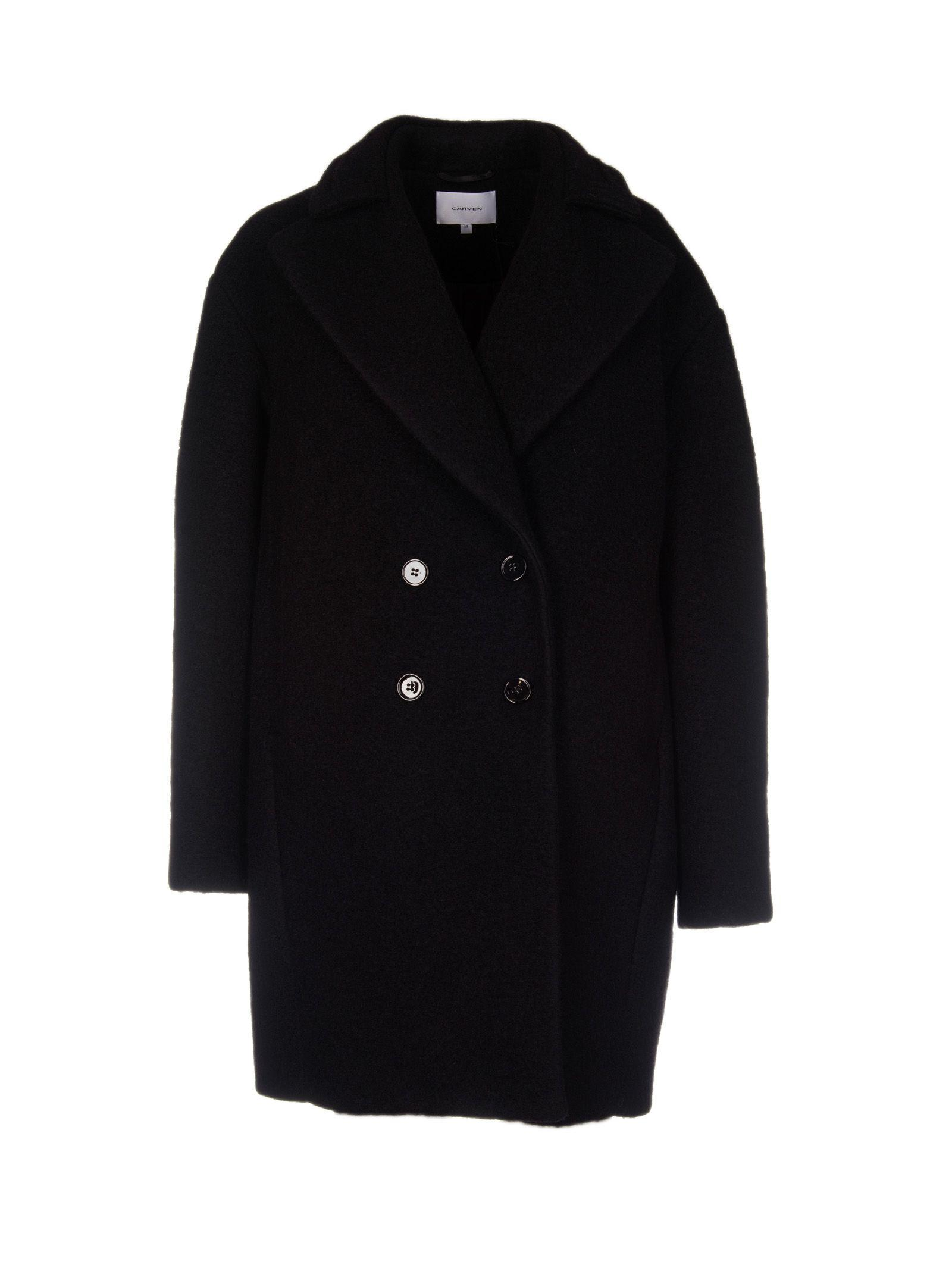 Carven Oversized Double Breasted Coat In Black