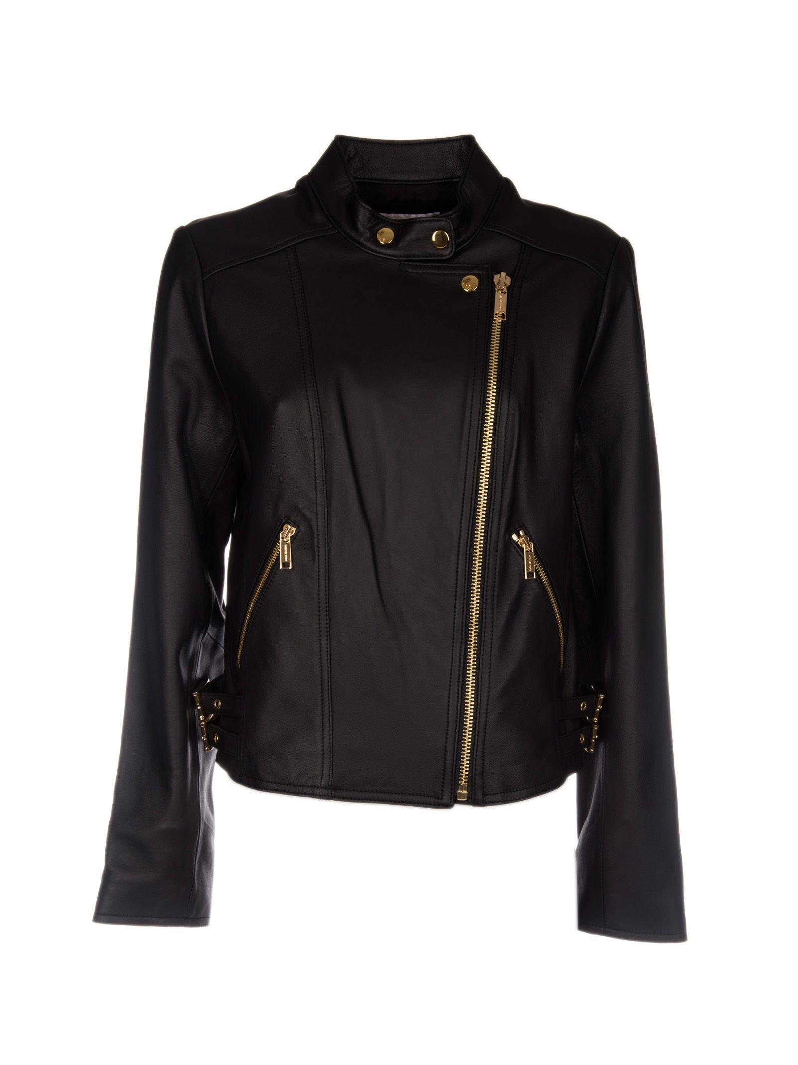Michael Michael Kors Leather Biker Jacket In Black