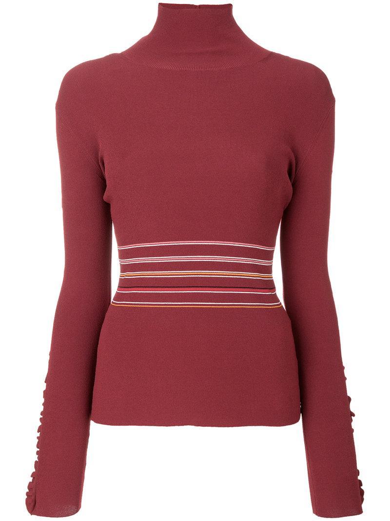 Roksanda Frilled Striped Turtleneck Sweater