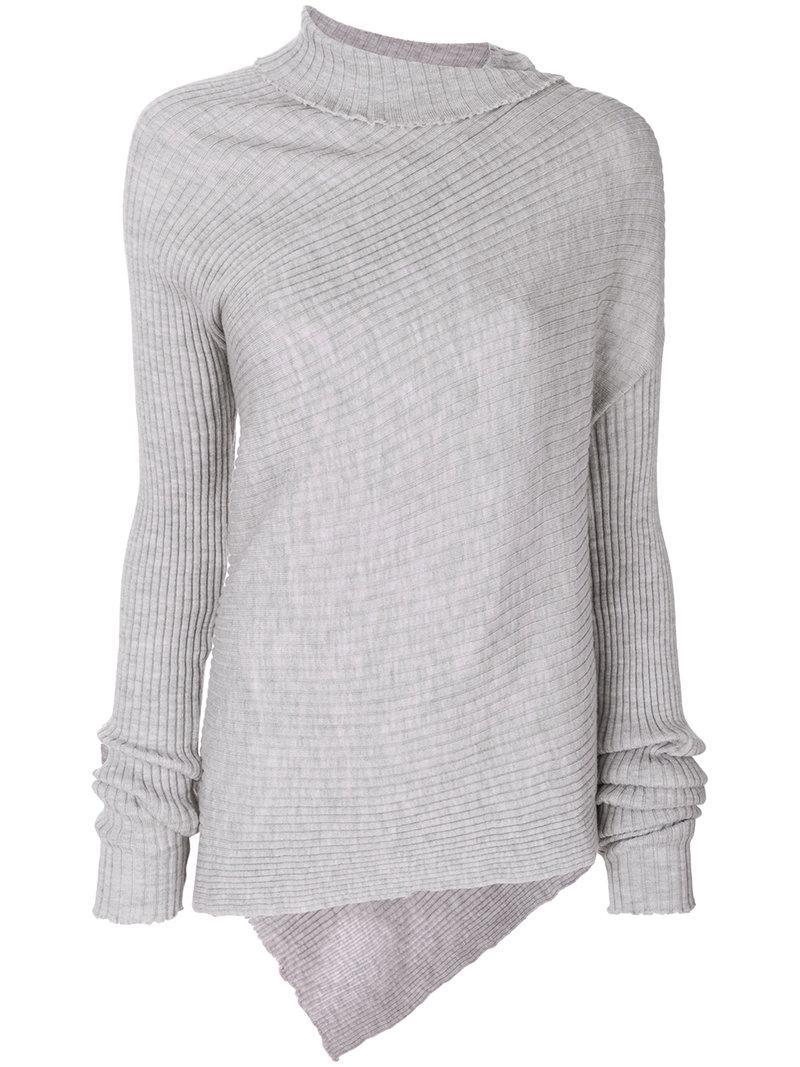 Marques' Almeida Asymmetric Sweater In Grey