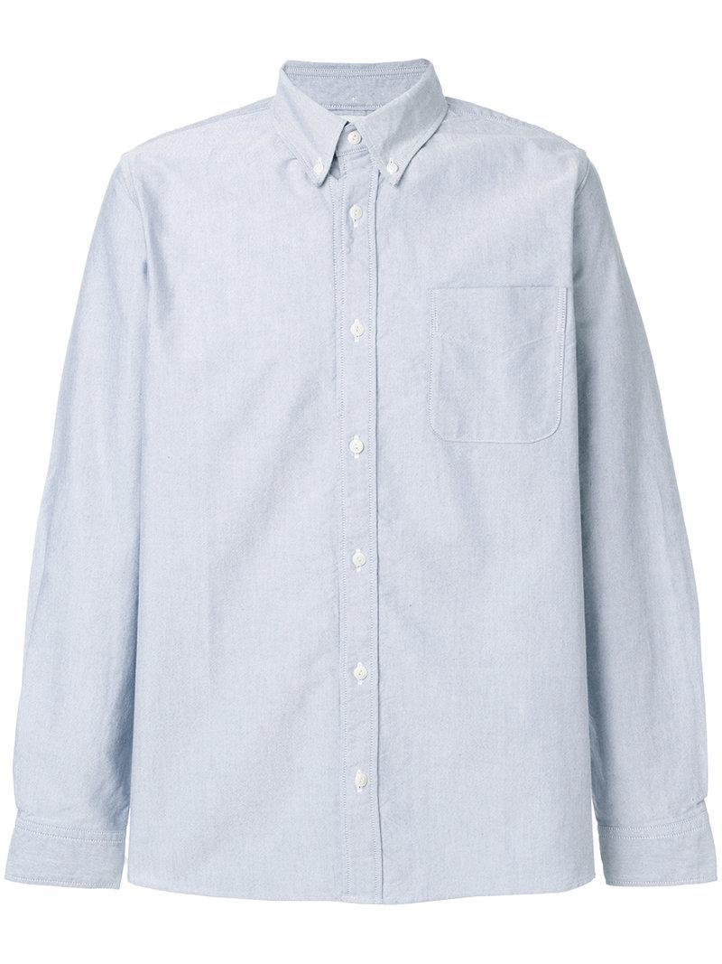 Visvim Contrast Elbow Patch Shirt In Blue