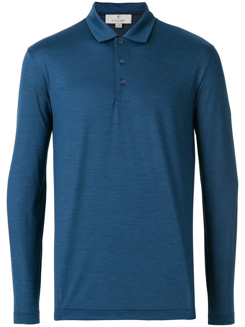 Canali Long-sleeved Polo Top - Blue