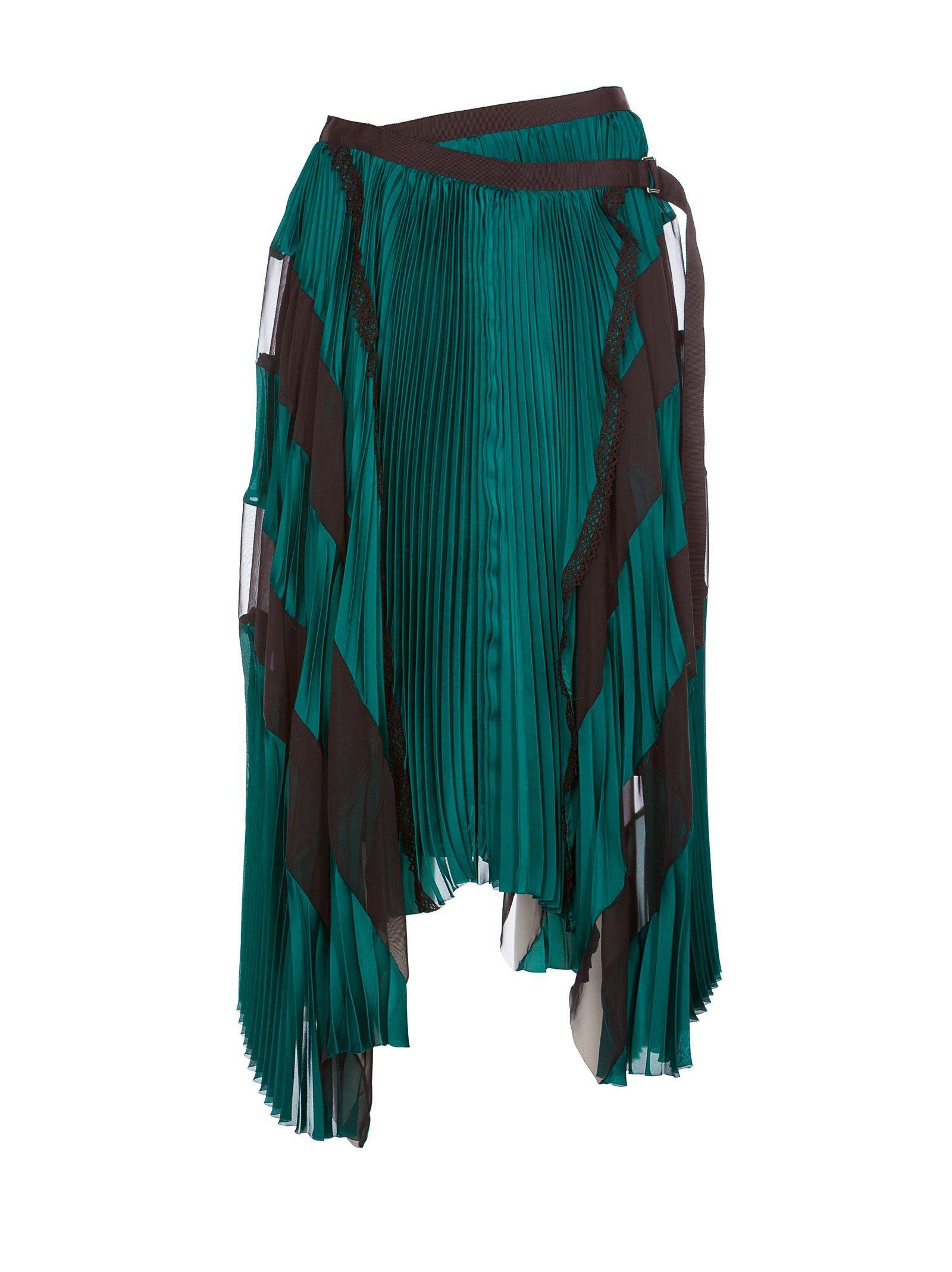 Sacai Asymmetric Striped Skirt In Green
