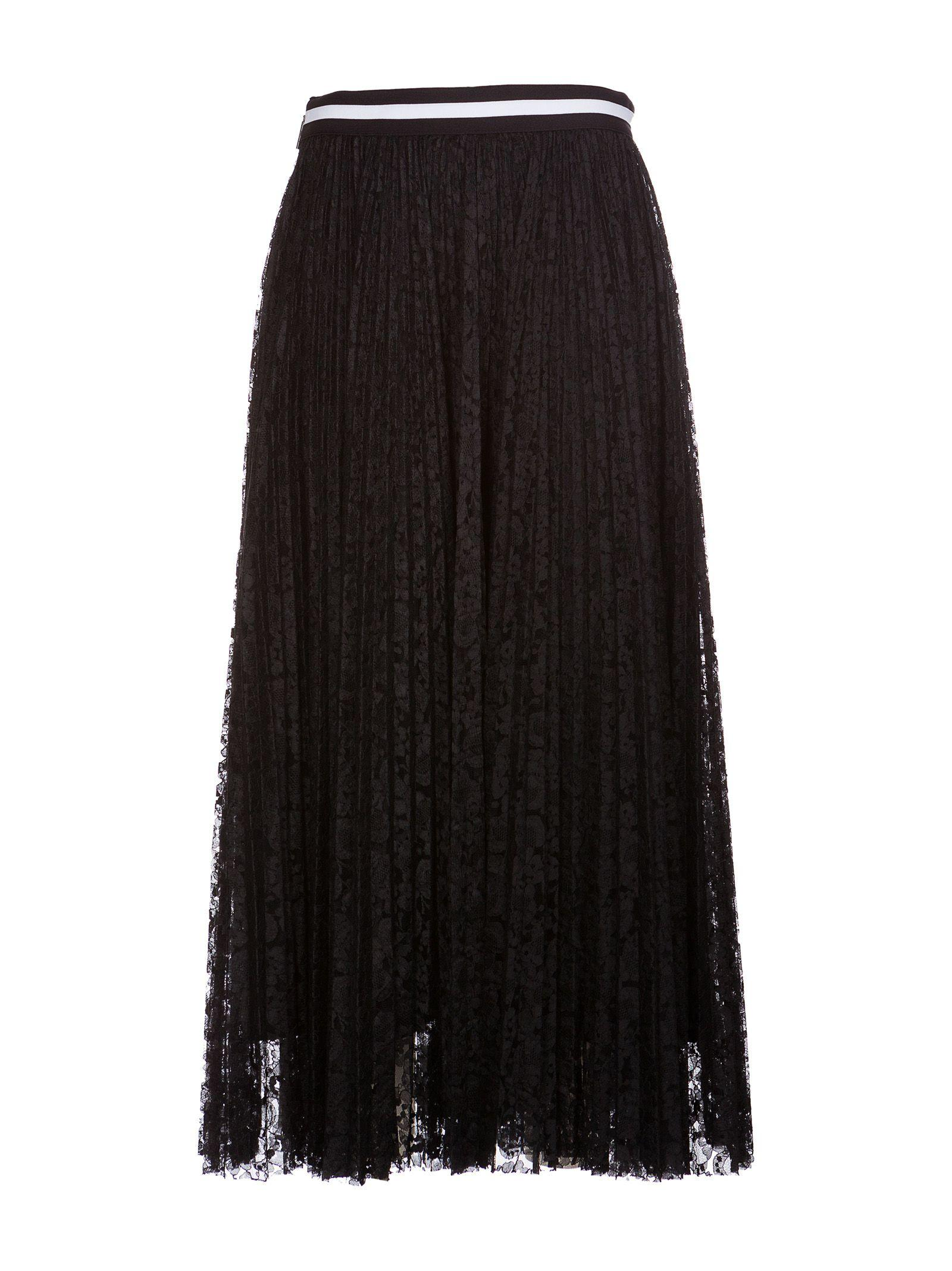 Msgm Pleated Lace Skirt In Black