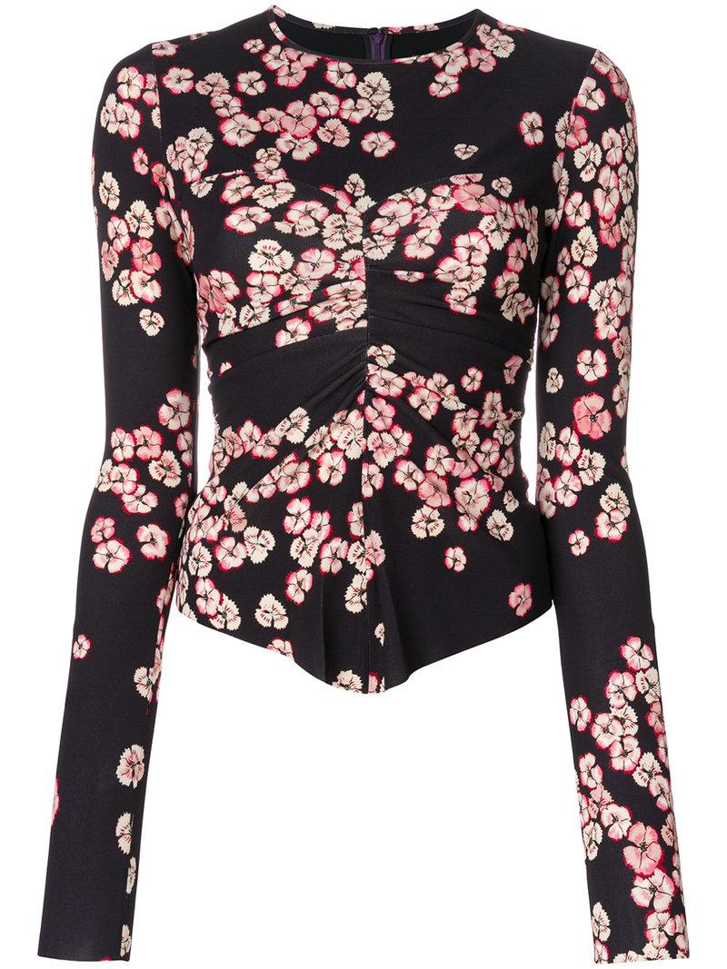 Isabel Marant Domino Floral Print Top In Pink/purple