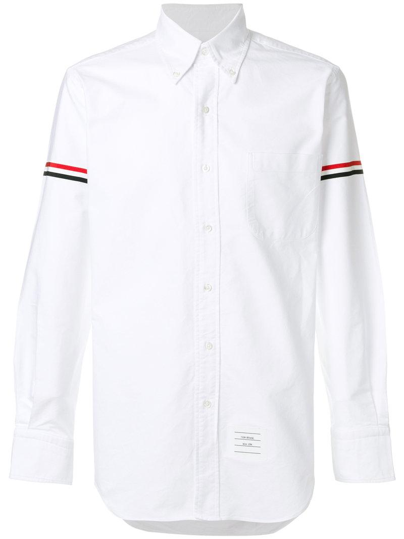 Thom Browne Armband Button Down Shirt In White