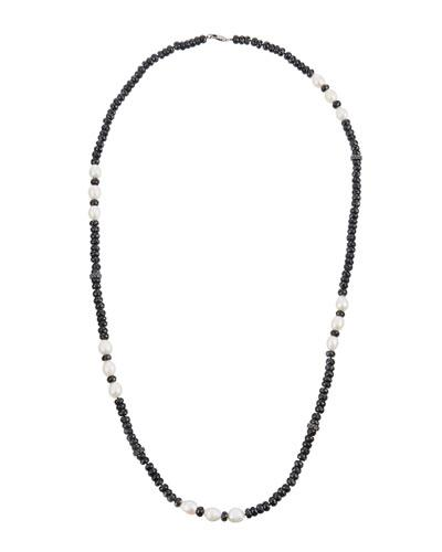Bavna Long Spinal & Freshwater Pearl Beaded Necklace