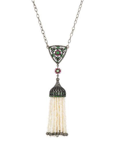 Bavna Freshwater Pearls & Diamond Tassel Necklace