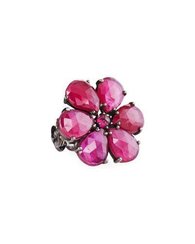Bavna Floral-motif Glass Ruby & Diamond Ring