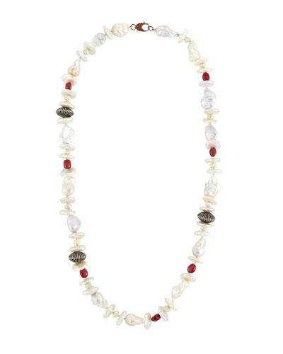 Bavna Baroque Pearl, Ruby & Sapphire Beaded Necklace