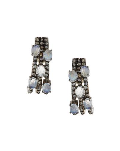 Bavna Pavé Diamond & Moonstone Statement Earrings
