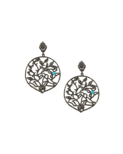 Bavna Pavé Diamond & Turquoise Round Drop Earrings