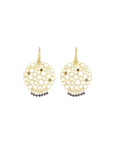 Gurhan 24k Black Diamond Lace Small Drop Earrings