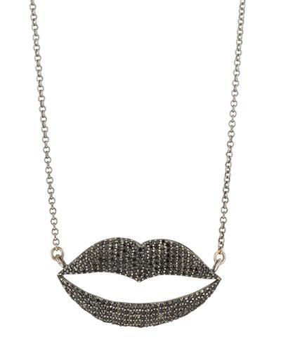 Bavna Black Spinel Lip-shaped Pendant Necklace