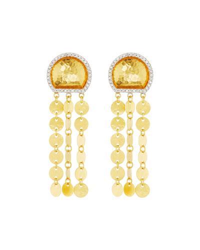 Gurhan Small Moon & Disc Chain Diamond Drop Earrings