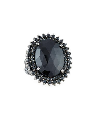 Bavna Prong-set Oval Black Spinel Ring