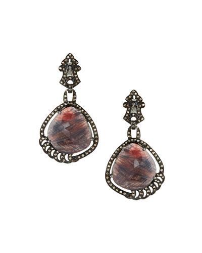 Bavna Brownish-red Sapphire & Diamond Drop Earrings