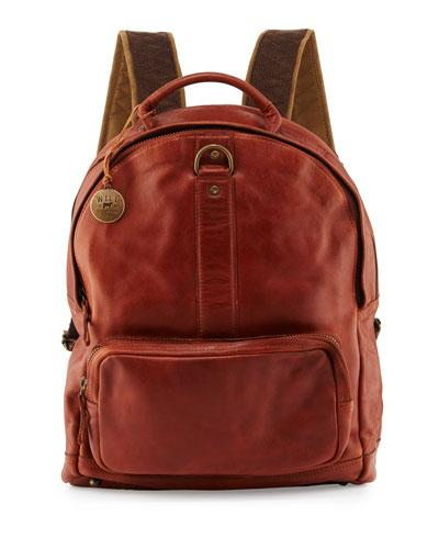 Will Leather Goods Felix Dome Leather Backpack, Cognac In Brown