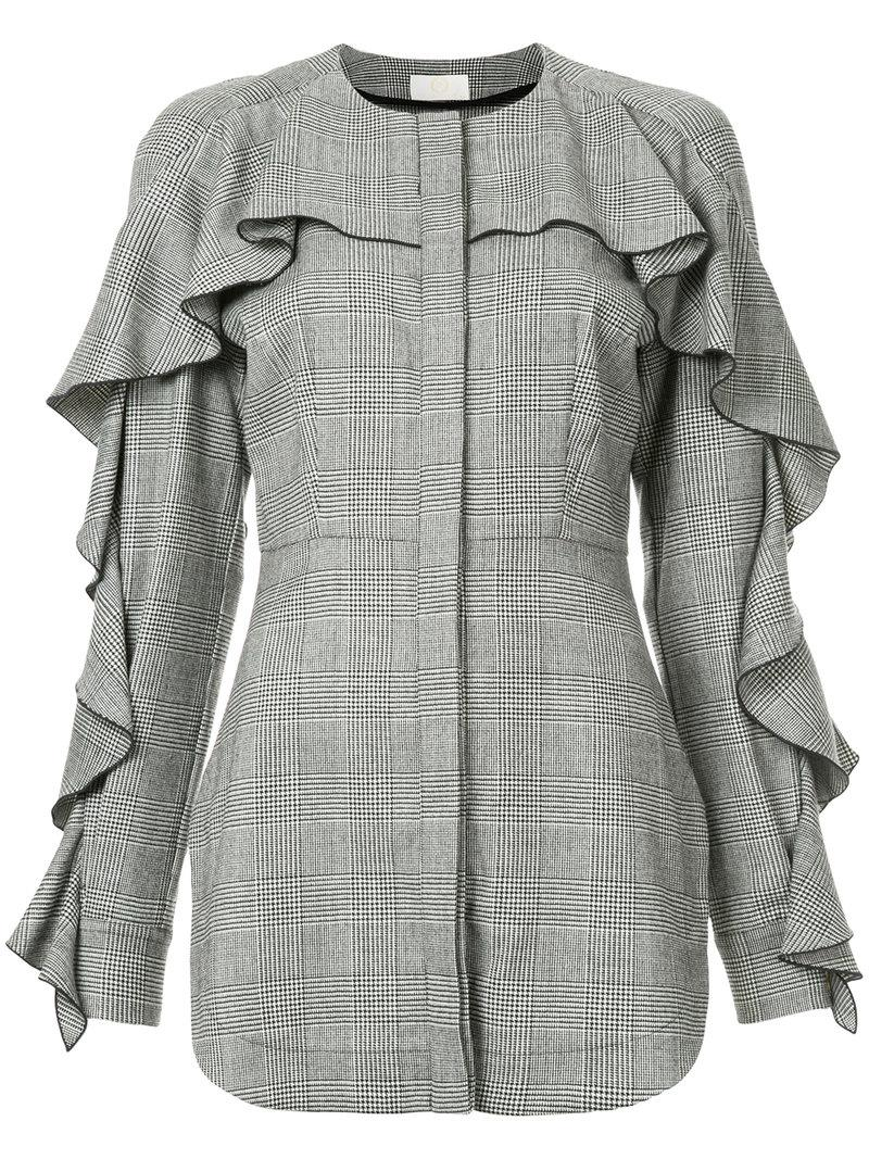 Sara Battaglia Tweed Ruffle Shirt In Grey